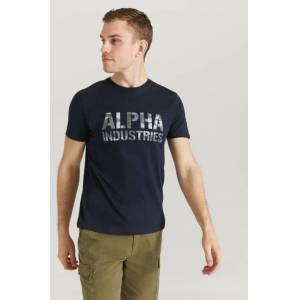Alpha Industries T-Shirt Camo Print T Blå