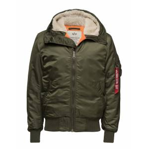 Alpha Industries Ma-1 Hooded Fodrad Jacka Grön Alpha Industries