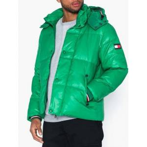 Tommy Hilfiger Shiny Hooded Bomber Jackor Green