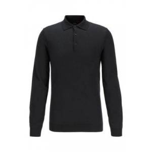 Boss Slim-fit polo shirt in wool jersey with metallic accents
