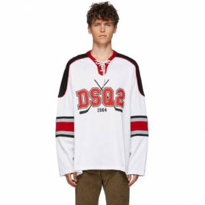 Dsquared2 White Jersey Hockey Fit T-Shirt