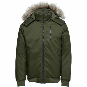 Only & Sons Men's Stanny Padded Bomber Jacket - Forest Green - M - Green