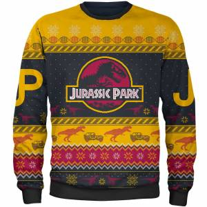 Own Brand Zavvi Exclusive Jurassic Park Xmas Knitted Jumper - Yellow - XL