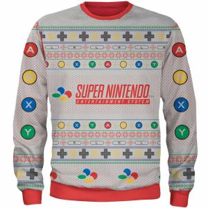Own Brand Zavvi Exclusive Nintendo SNES Xmas Knitted Jumper - Grey - L