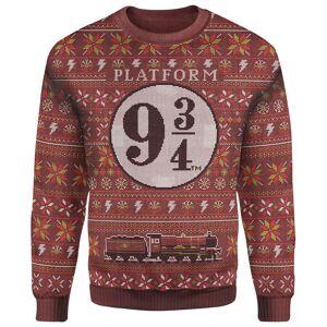 Own Brand Zavvi Exclusive Harry Potter Platform 9 3/4 Xmas Knitted Jumper - Burgundy - S
