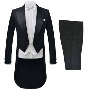 vidaXL Tvådelad kostym frack herrar strl. 52 svart