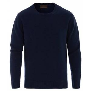 Altea Virgin Wool Crew Neck Sweater Navy
