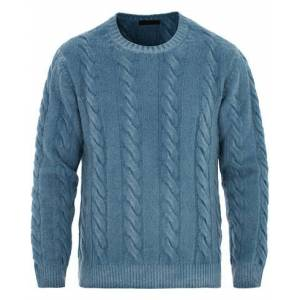 Altea Brushed Wool Cable Crew Sweater Storm Blue