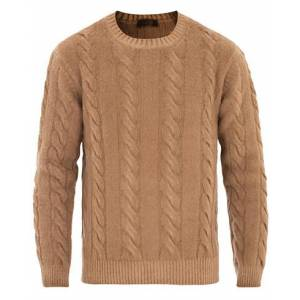Altea Brushed Wool Cable Crew Sweater Camel