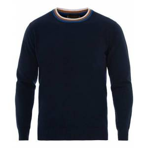 Altea Wool Contrast Crew Neck Sweater Navy