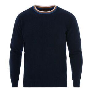 Altea Wool Contrast Crew Neck Sweater Navy