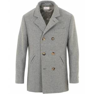 Brunello Cucinelli Pilar Virgin Wool Coat Light Grey Melange
