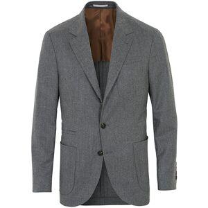 Brunello Cucinelli Super 120s Flannel Patch Pocket Blazer Grey Melange