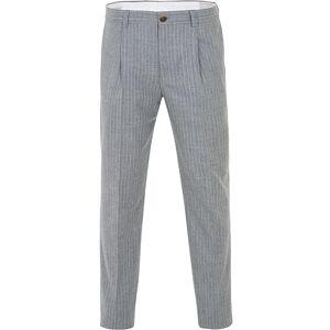 Brunello Cucinelli Slim Fit Pin Stripe Pleated Flannel Trousers Light