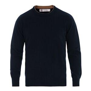 Brunello Cucinelli Cashmere Contrast Crew Neck Sweater Navy