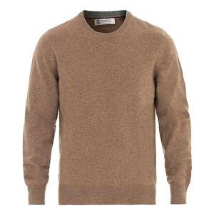 Brunello Cucinelli Cashmere Contrast Crew Neck Sweater Brown