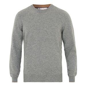 Brunello Cucinelli Cashmere Contrast Crew Neck Sweater Grey