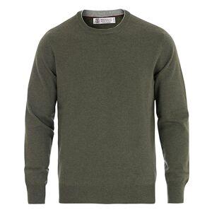 Brunello Cucinelli Cashmere Contrast Crew Neck Sweater Green