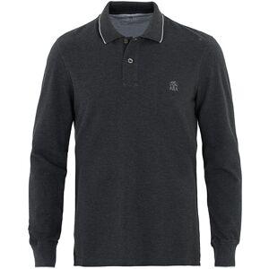 Brunello Cucinelli Long Sleeve Classic Polo Shirt Dark Grey