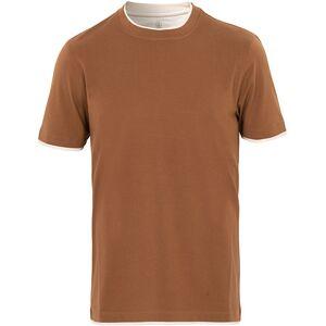 Brunello Cucinelli Contrast Collar T-Shirt Camel/White