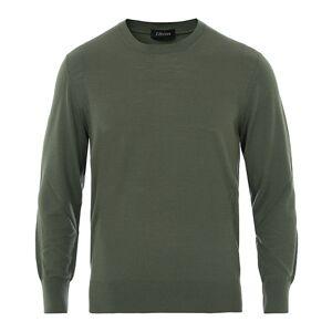 Z Zegna Light Merino Crew Neck Sweater Khaki Green