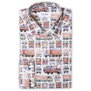 Eton Slim Fit Twill Tada Truck Printed Shirt White