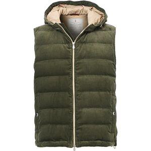 Brunello Cucinelli Corduroy Hooded Vest Sage Green