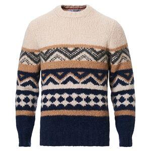 Brunello Cucinelli Alpaca Jacquard Crew Neck Sweater Beige/Blue