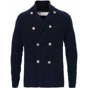 Brunello Cucinelli Double Breasted Knitted Jacket Navy
