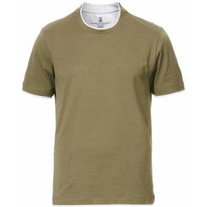 Brunello Cucinelli Contrast Collar T-Shirt Green/Grey