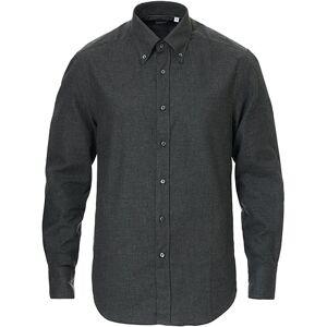Brunello Cucinelli Slim Fit Button Down Flannel Shirt Charcoal