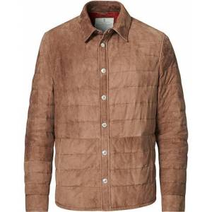 Brunello Cucinelli Quilted Leather Jacket Brown Suede