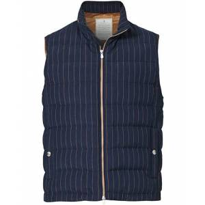 Brunello Cucinelli Linen/Silk Pinstripe Vest Navy