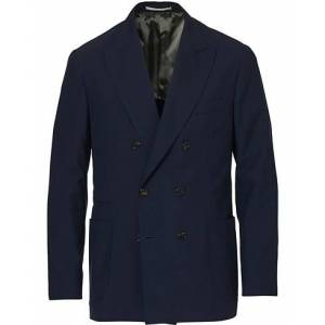 Brunello Cucinelli Super 120s Wool Double Breasted Blazer Navy