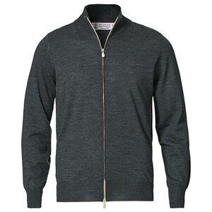 Brunello Cucinelli Wool/Cashmere Full Zip Sweater Charcoal