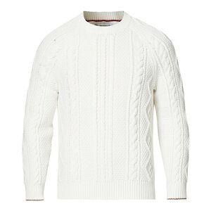 Brunello Cucinelli Cotton Aran Cable Sweater Off White