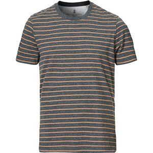 Brunello Cucinelli Breton Stripe Short Sleeve T-Shirt Grey/Brown