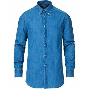 Brunello Cucinelli Slim Fit Denim Button Down Shirt Indigo
