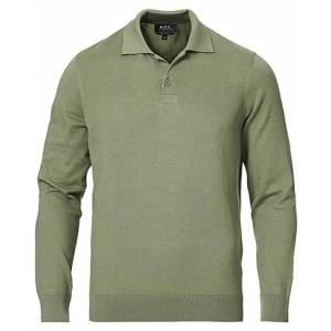 A.P.C. Cotton/Cashmere Knitted Polo Sage