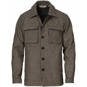 Aspesi Tigre Houndstooth Wool Shirt Jacket Grey