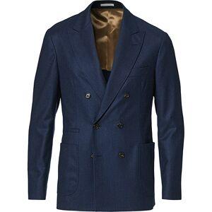 Brunello Cucinelli Double Breasted Flannel Blazer Dark Blue