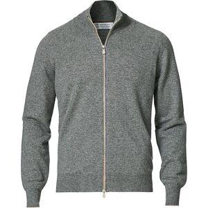 Brunello Cucinelli 2 Ply Cashmere Full Zip Grey Melange