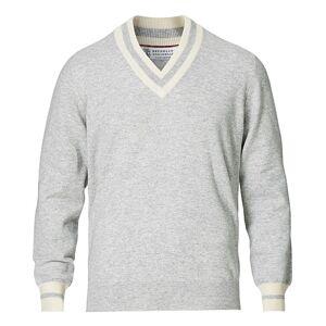Brunello Cucinelli Cashmere Tennis Sweater Light Grey