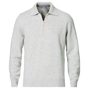 Brunello Cucinelli Cashmere Zip Polo Light Grey