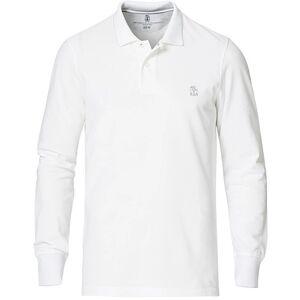 Brunello Cucinelli Long Sleeve Logo Piquet Polo White
