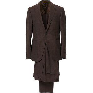 Canali Wool/Linen Patch Pocket Suit Dark Brown