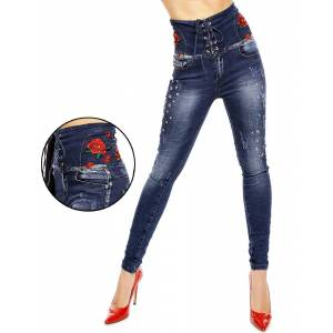 Mörk Blå Jeans med Hög Midja, Blommor och Nitar
