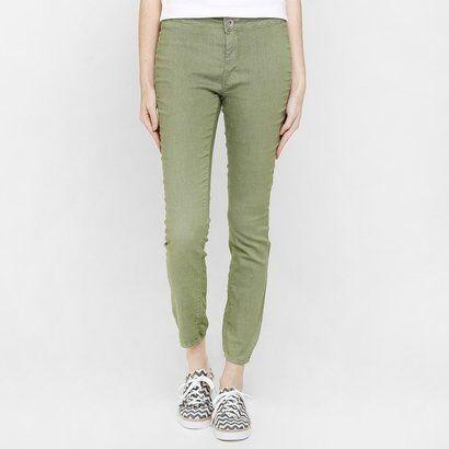 Calça Benetton Skinny Sarja - Feminino-Verde Militar