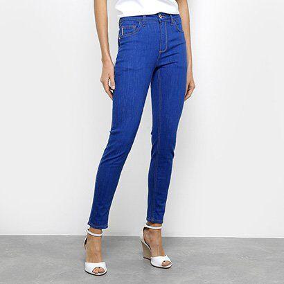Calça Jeans Cigarrete Fórum Marisa Cintura Média Feminina - Feminino-Azul