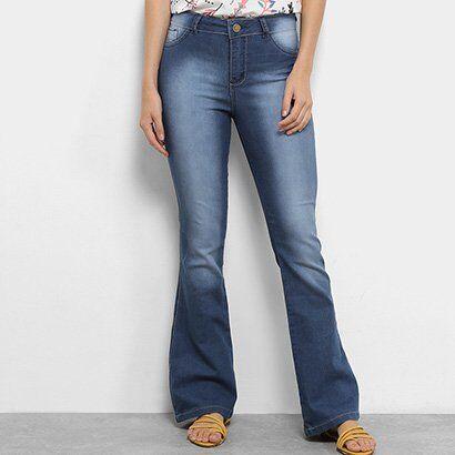 Calça Jeans Flare Coffee Estonada Cintura Alta Feminina - Feminino-Azul